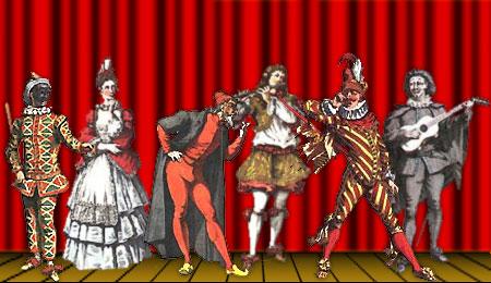 Plusieurs personnages de la Comedia Dell'arte